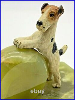 Art Deco Rare English Scotty Scottish Terrier Dogs Bookends On Green Marble