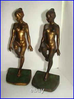 Art Deco Ronson Nude Lady 11 Tall Gold Painted Rare Bookends Book Ends