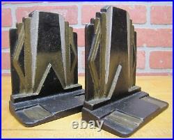 Art Deco SKYSCRAPER Stylized Geometric Cast Iron Pair Bookends Decorative Arts