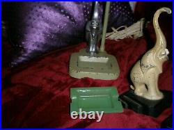 Art Deco Signed FRANKART Elephants with trunk up for good luck Lamp, bookends