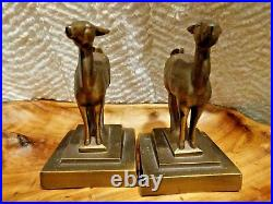 Art Deco Signed Frankart Fawn Deer Bronze Colored Bookends Figurines Vintage