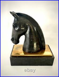 Art Deco Stone Horse Head Bookends