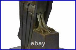 Art Deco Style Bronze Hawk Eagle Falcon Crow Bird Bookend Sculpture 15 x 6.5