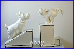 Art Deco Style Ceramic Bookends Cat & Dog Black & White
