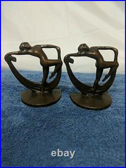 Art Deco Style Nude Scarf Dancing Female Lady Bookends Book Art Deco Style