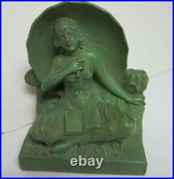 Art Deco Umbrella Lady Woman Girl with Book Cast Metal Bookends withTopless Figure