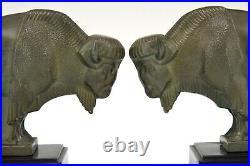 Art Deco bison bookends Max Le Verrier original 1930