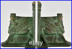Art Deco bronze Lamassu bookends C. Charles 1930 France original