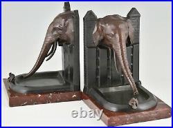Art Deco bronze bookends elephant with bird R. Patrouilleau France 1925