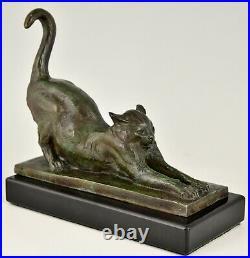 Art Deco bronze cat bookends Louis Riche France 1920 original