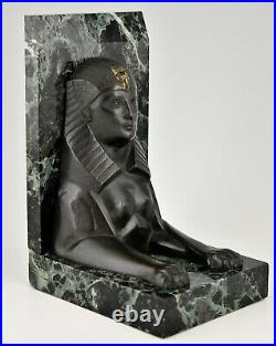 Art Deco bronze sphynx bookends C. Charles France Egyptian Revival 1930