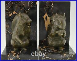 Art Deco bronze squirrel bookends Rene Papa France 1930