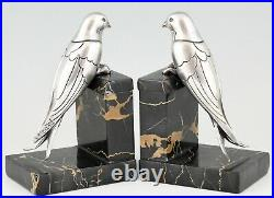 Art Deco silvered bronze swallow bookends Suzanne Bizard France 1930