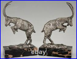Art Deco silvered french bronze bookends Billy goats by Monnin 1925