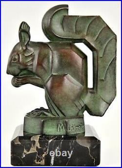 Art Deco squirrel bookends Max Le Verrier France 1930