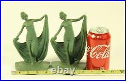 Art Nouveau Nude Female Women Scarf Dancers Bookends Art Deco Sculptures MRK 51
