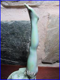 Australian Pottery Wembley Naked Lady Bookend Art Deco Statue Diana Lustre Glaze