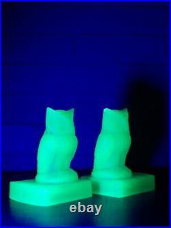 BAGLEY GLASS Green Uranium Glass RARE ART DECO PAIR OF OWL BOOKENDS