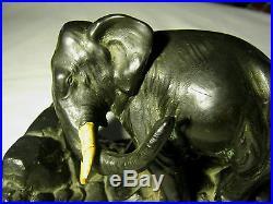Best! Antique 8 Lb Ronson Art Deco Bronze Elephant Statue Sculpture Bookends