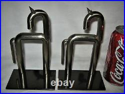 Best! Antique Industrial Chase USA Art Deco Nickel Chrome Horse Book Bookends