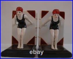 Bookends Bathing Beauty Sexy Diver Art Deco Style Art Nouveau Style Porcelain En