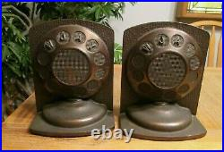 Broadcaster Microphone Bookend Pair Cast Iron Wjay Cleveland Radio Art Deco