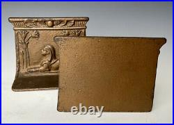 C. 1925 Art Deco Egyptian Sphinx Cast Iron Bookend Pair, 4.25, Bradley & Hubbard