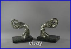 C. LAPLAGNE MOUNTAIN GOAT BOOKENDS / CAR MASCOTS hood ornament art deco