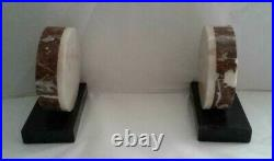 CLOCK Vintage French Art Deco Marble Desk Mantle Clock and Bookends