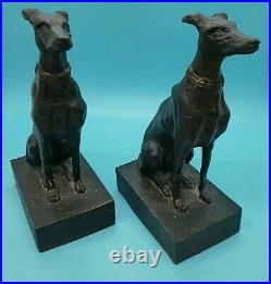 Cast Iron Sitting Greyhound Whippet Dog Bookends Vintage Art Deco Style 19cm E3