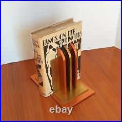 Chase Brass & Copper Co. Bookends Machine Age Art Deco Era Original & NICE