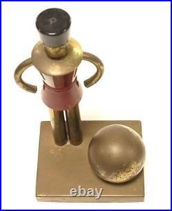 Chase Walter Von Nessen Brass Bakelite Art Deco Toy Soldier Red Gold Book Ends