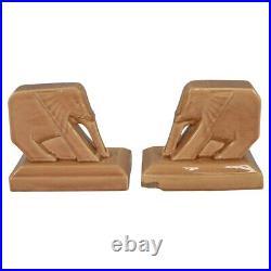 Cowan Pottery 1929 Angular Elephant Caramel Art Deco Bookends (Postgate)