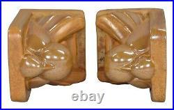 Cowan Pottery Mottled Crystalline Orange Art Deco Dove Bookends (Novotny)