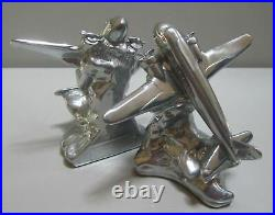 DC-3 Airplane bookends art deco polished aluminum metal made in the USA a pair
