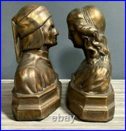 Dante and Beatrice Spelter Bookends Circa 1930's