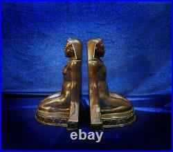 Egyptian Deco Nude Bookends Kronheim & Oldenbusch K&o Bronzed Spelter Lotus