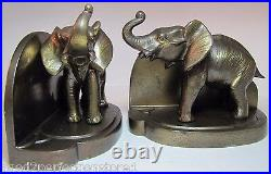 FRANKART Art Deco ELEPHANT Bookends Signed Decorative Art Book Ends Statues