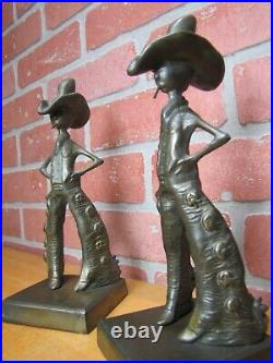 FRANKART COWBOY 1920 30s Art Deco Western Americana Bookends Decorative Statues
