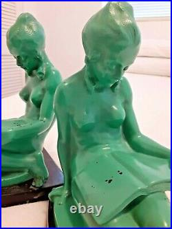 FRANKART NUART ERA Nude Reading Lady Nymph BOOKENDS Nile Green ART DECO MODERNE
