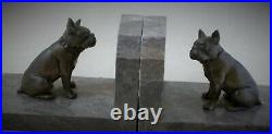 Fine Pair Of French Spelter And Marble Art Deco Bookends Of French Bulldogs