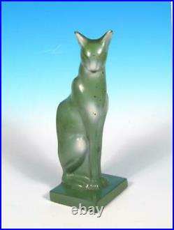 Frankart Art Deco Egyptian Revival Sitting Cat Bookends Original Green Finish