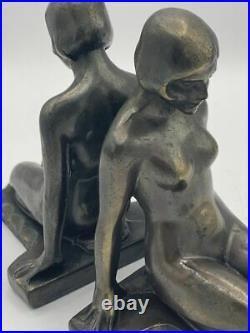 Frankart Nuart Art Deco Nude Lady Bookends Cast Metal Antique