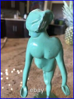Frankart Nude Nymph & Frog Green Painted Metal 9.5 ART DECO Bookends