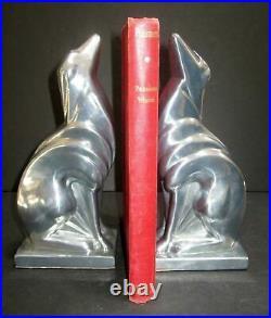 Frankart Russian wolfhound Borzoi dog art deco polished aluminum bookends USA