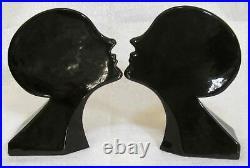 Frankart Sarsaparilla art deco nymph head bookends black all metal a pair USA