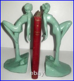 Frankart nymph with frog bookends art deco in green 10 tall metal a pair USA