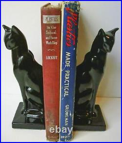 Frankart sitting cat bookends art deco moderne in a black finish a pair USA 8