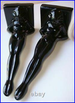 Frankart standing nymph bookends art deco in black metal 9-1/4 tall a pair USA