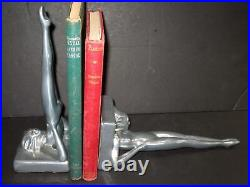 Frankart standing nymph bookends art deco polished aluminum 9 tall a pair USA